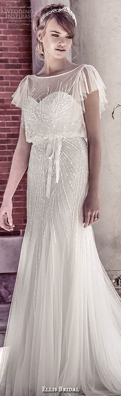 ellis bridal 2015 wedding dress vintage flutter sheer sleeves sequins embellishment tulle fluted blouson gown style 15160 #weddingdress #sheathweddingdress