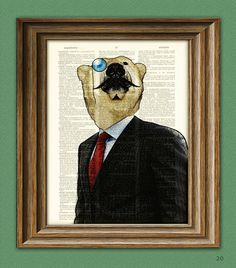 Polar Bear Art 'Exquisite Indeed' Fancy Bear with mustache and monocle illustration suave dictionary page book art print on Etsy, $7.99