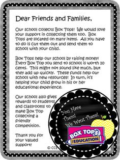 This handout is a great use during open house or throughout the year to inform parents about Box Tops.  If you like what…