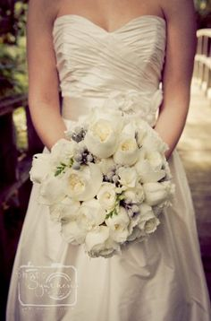 This bouquet consist of silver brunia, David Austin Patience roses and White Polo roses.  This wedding took place at the Farm at Old Edwards Inn, N.C.