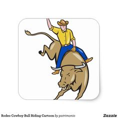 Rodeo Cowboy Bull Riding Cartoon Square Sticker. Square sticker designed with an illustration of rodeo cowboy riding a bucking bull on isolated white background done in cartoon style. #cowboy #rodeo #bucklingbull #sticker