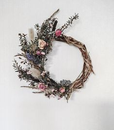 Mini Rustic Everlasting Wreath Rustic Wreaths, Drying Roses, Grapevine Wreath, Grape Vines, Lavender, Gallery Wall, Bloom, Purple, Mini