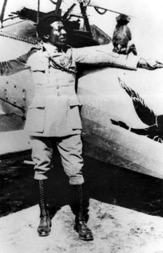 """""""The Black Swallow of Death"""" - Eugene Bullard,  the first African American to fly a fighter plane, left Columbus, Georgia after his once-enslaved father narrowly escaped lynching. He flew for France in WWI and survived to spy for the Resistance in WWII. Amazing story at link - where's his movie? See https://www.pinterest.com/pin/38702878023871806/ for the only other known Black pilot in that war."""