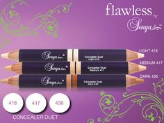 Concealer Duets 3 perfectly paired, aloe inspired concealer shades in easy-to-use, double-ended pencils that blend flawlessly for concealing imperfections. 2 shades per pencil, the soft, creamy texture and silky, smooth finish blend into the skin for a customized color application.Order at  http://myflpbiz.com/esuite/home/aloehealth