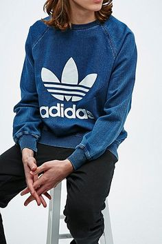 Adidas French Terry Sweatshirt in Indigo - Urban Outfitters