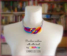 Upcycled necklace/Celtic knot/Rainbow colors/Summer edition/Recycled/ Woman's necklace/Handmade/Repurposed/Soft/Eco friendly/Jersey stripes
