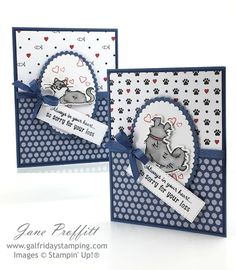 Cat Cards, Kids Cards, Cards Diy, Dog Cards Handmade, Pet Sympathy Cards, Greeting Cards, Fun Fold Cards, Stamping Up Cards, Get Well Cards