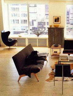 Mats Gustafson's New York loft Mats Gustafson, New York Loft, Swedish Design, Home Living Room, Apartment Ideas, Spaces, Gray, Interior Design, Chair