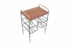 TEAK + BRASS DANISH MODERN SIDE TABLE • Mid Century Mobler