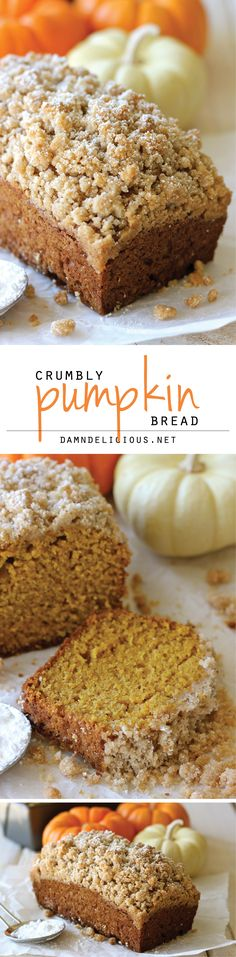 I have an AMAZING pumpkin bread recipe, courtesy of Robin'd G-ma, but I want the topping part of this recipe.Crumbly Pumpkin Bread - With lightened-up options, this can be eaten guilt-free! And the crumb topping is out of this world amazing! Fall Desserts, Just Desserts, Delicious Desserts, Dessert Recipes, Yummy Food, Italian Desserts, Thanksgiving Desserts, Drink Recipes, Pumpkin Recipes