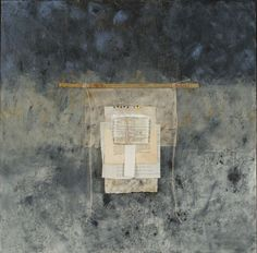 Sanctuary, cold wax and oil paints with collage, bamboo and string by Donna Watson