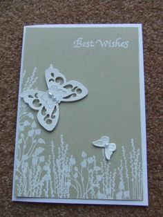 Birthday Card - Stampin Up Pocket Silhouettes - hot embossed in white.