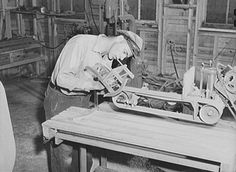 Woodworking in the arts and crafts shop on FSA (Farm Security Administration) project. Ida Valley Farms, Shenandoah Homesteads, Luray, Virginia