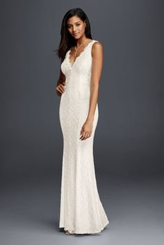 Allover Lace V-Neck Sheath Wedding Dress - Ivory, 8