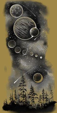 космос. черно белые эскизы