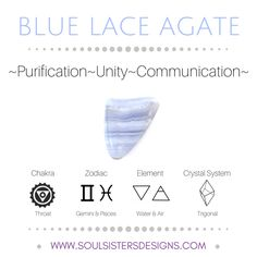 Metaphysical Healing Properties of Blue Lace Agate, including associated Chakra, Zodiac and Element, along with Crystal System/Lattice to assist you in setting up a Crystal Grid. Go to https:/soulsistersdesigns.com to learn more!