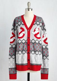 Hello? Boo's There? Cardigan - Mid-length, Cotton, Knit, Multi, Novelty Print, Buttons, Casual, Vintage Inspired, 80s, Quirky, Long Sleeve