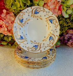 6 Beautiful Vintage Grosvenor English Porcelain Rimmed Soup Bowls ~ Royce ~ Gold #Grosvenor