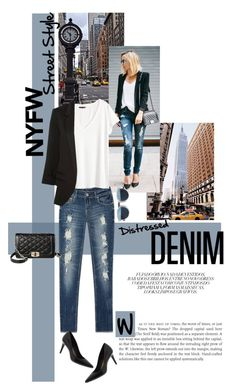 """""""Distressed Denim"""" by leslee-dawn ❤ liked on Polyvore featuring Avenue, Calvin Klein, Merona, H&M, WithChic, Christian Dior, women's clothing, women, female and woman"""