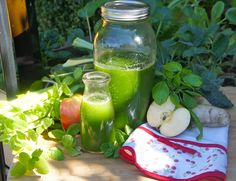 We put this juice together using as many fresh, seasonal ingredients we could find. The mint and basil were from the garden and the apple and veggies were locally grown. The result was a green juice that has the miraculous ability to lift your spirits, p