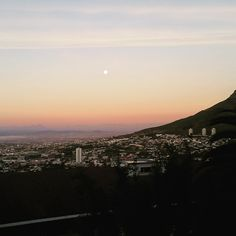 Moon and sunrise Cape Town, Sunrise, Trail, Moon, Landscape, City, Places, Outdoor, The Moon