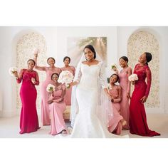 All smiles. The big and her girls.   @bigg_ayo.  #africansweetheartweddings #bride #bridesmaids #bridalparty
