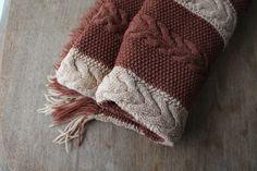 Vintage Afghan Blanket Knit Brown Beige Camel by QUIVERreclaimed
