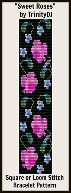 """New Loom or Square stitch bracelet pattern """"Sweet Roses""""- will be available next week as direct download and/or kit."""
