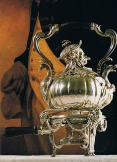 The Germain Silver Service or Portuguese Royal Service - Chinoiserie Sterling hot water kettle. Paris, This considered the finest single collection of century French silver in existence. Vintage Silver, Antique Silver, Silver Teapot, National Treasure, Image House, Chinoiserie, Vintage Antiques, Tea Party, Sterling Silver