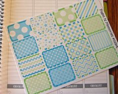 Springtime Blue Green Half Block Planner Stickers for Plum Paper Planners #029