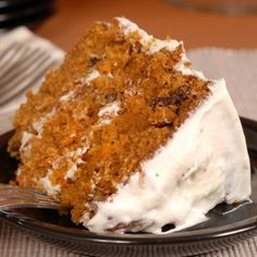 A very yummy recipe for moist carrot cake with a delicious cream cheese frosting.