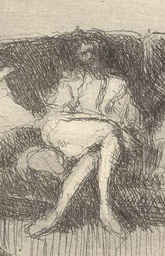 """ Edouard Vuillard Interieur au canapé ou soir """