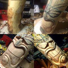 Day 2 of my first Tiki – Day 2 of my first Tiki – Chainsaw Carving Pattern – Free Easter Island TikiMy first Tiki from Yorkshire England Newman Wood Carving Wood Carving Patterns, Carving Designs, Diy Wood Projects, Wood Crafts, Tiki Maske, Tiki Head, Tiki Statues, Tiki Art, Tiki Tiki