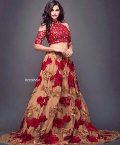 Cold shoulder red and beige lehenga Indian Wedding Gowns, Indian Dresses, Indian Outfits, Wedding Lehanga, Indian Designer Outfits, Designer Dresses, Designer Lehanga, Indian Attire, Indian Wear