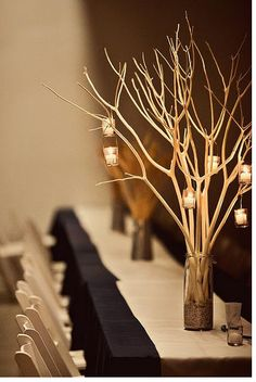 branch centerpieces, add flowers and bling Branch Centerpieces, Candle Wedding Centerpieces, Wedding Decorations, Table Decorations, Winter Decorations, Centrepiece Ideas, Wedding Reception Planning, Wedding Table, Our Wedding