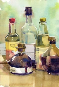 Shari Blaukopf - *watercolours Vinegars - The secret to this technique is in the amount of water on your brush. If you add more water than is on the paper, you end up with backruns and blooms, but if each layer of paint has a little less water than what is on the surface of the paper, then you can maintain some control of your washes. It takes lots of practice but I figure that by the time this annoying cast comes off I will have made some progress.