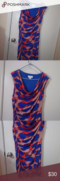 Jessica Simpson Slinky Dress Size 12 gently used, no holes or stains , cowl neck, sleeveless, lined  ruched waist  poly/spandex lined poly  machine washable  armpit to armpit 18.5 length 36 9/18 Jessica Simpson Dresses