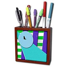 A Bird in Disc of Blue with Layers of Purple, Green and Aqua Textured Tile Pen Holder
