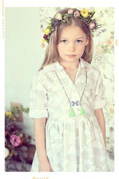 Girls Dress: The Seattle Girls Shirtdress in Grey by FleurandDot