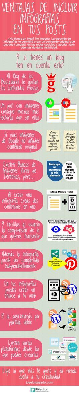 Hola: Una infografía sobre las Ventajas de incluir infografías en los post de tu Blog. Vía Un saludo