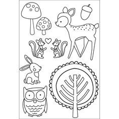 Tiny Woods Clear Stamps 6X4 7 cute stamps Fawn door myrubberstamp