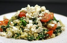 Gewoon wat een studentje 's avonds eet: Vega: Couscous met spinazie, cherrytomaatjes en feta