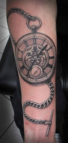 pocket watch tattoo by Tim Hendricks