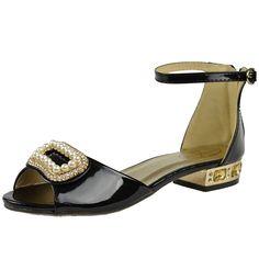 Kids Dress Sandals Gold Tone Pearl Accent Low Heel Pageant Shoes Black Girls Dress Sandals, Pageant Shoes, Little Princess, Low Heels, Black Shoes, Little Girls, Pearls, Kids, Gold
