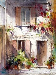 By Fabio Cembranelli Art Watercolor, Cembranelli Watercolor Art, Watercolor Paintings Watercolor Landscape, Watercolour Painting, Painting & Drawing, Watercolors, Bild Gold, Watercolor Architecture, Artist Gallery, Beautiful Paintings, Love Art