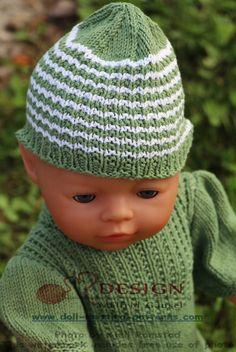 Stripete luer i grønt og hvitt strikket i mønster fikk både Mikkel og Mille.