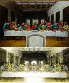 """""""The Last Supper"""" has also been the target of much speculation, usually centered around supposed hidden messages or hints found within the painting. Slavisa Pesci, an information technologist, created an interesting visual effect by overlaying a semitransparent, mirrored version of the painting on top of the original. The result is that two figures that look like Templar knights appear at both ends of the table, while someone who is possibly holding an infant stands to Jesus' left. Giovanni…"""