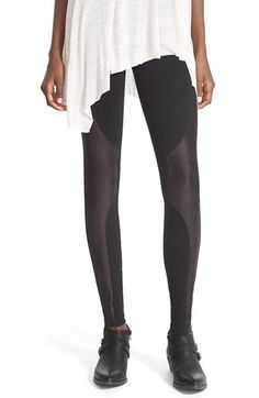 Sun & Shadow Faux Suede Panel Leggings available at #Nordstrom