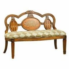 "This regal wood bench adds well-appointed style to your sitting room or entryway–with a diamond-patterned seat and inlay details, this piece lends classic elegance to your decor.      Product: BenchConstruction Material: Wood and fabricColor: Medium brown and sageFeatures:  Inlay design accentsDiamond pattern on seatOrnately carved Dimensions: 35"" H x 51"" W x 27"" D"