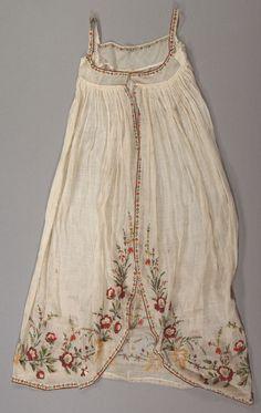 ca. 1800-1810, besticktes Überkleid aus Baumwolle (Stickereien aus Wollfäden), Frankreich